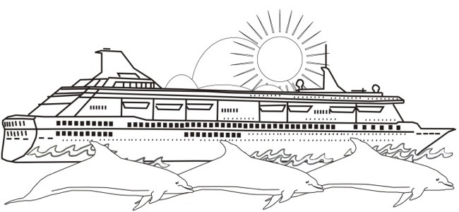 Picture calendar august 2008 for Cruise ship coloring page