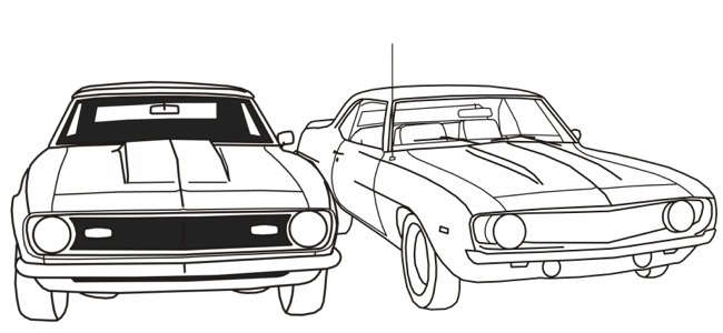 Car Themed Coloring Pages : Gtx auto colouring pages