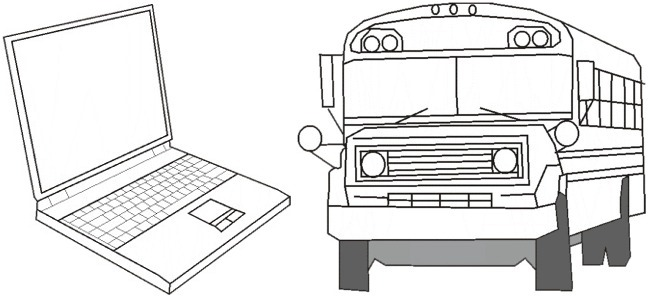 Laptop And School Bus Outline