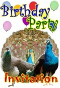 peacocks birthday party invitation