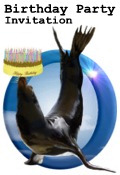sea lion and cake Birthday Party Invitation