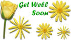 Get Well card yellow flowers