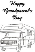 Grandma and Granpa camper truck coloring image preview