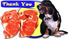 Thank You card image dog and steaks