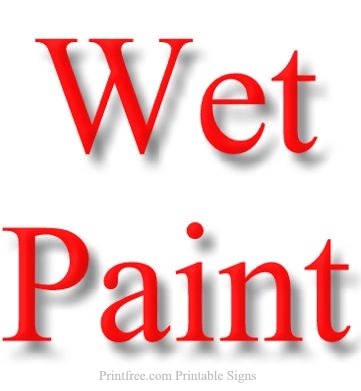 Wet Paint Sign Bright Red